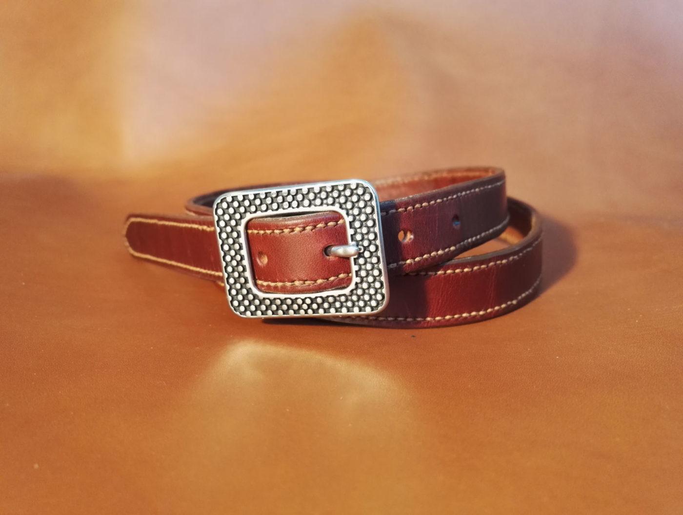 ceinture burgundy boucle acier