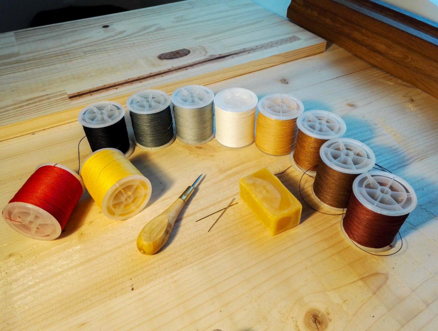 bobines de fils de lin
