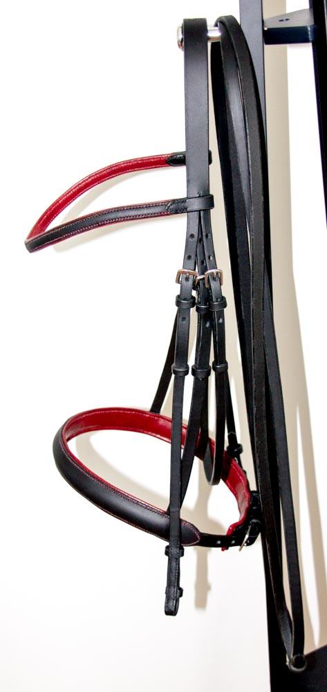 bridon dressage noir et rouge