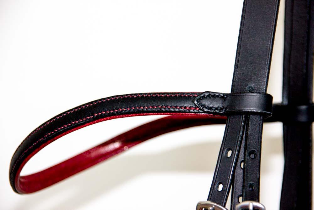 frontal bridon dressage noir et rouge
