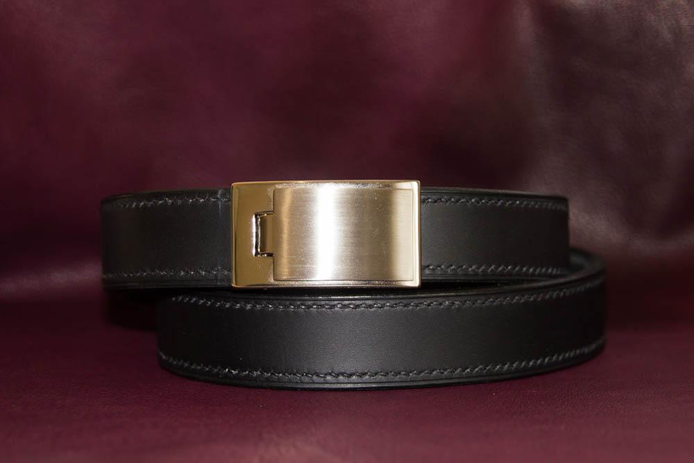 ceinture noire cousue noir boucle nickel brossé